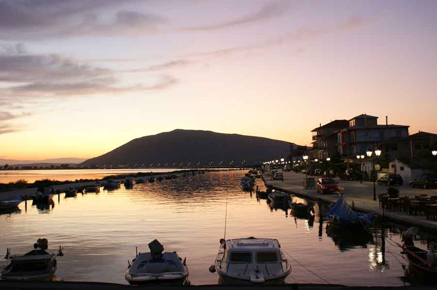 Lefkada island sunset at port