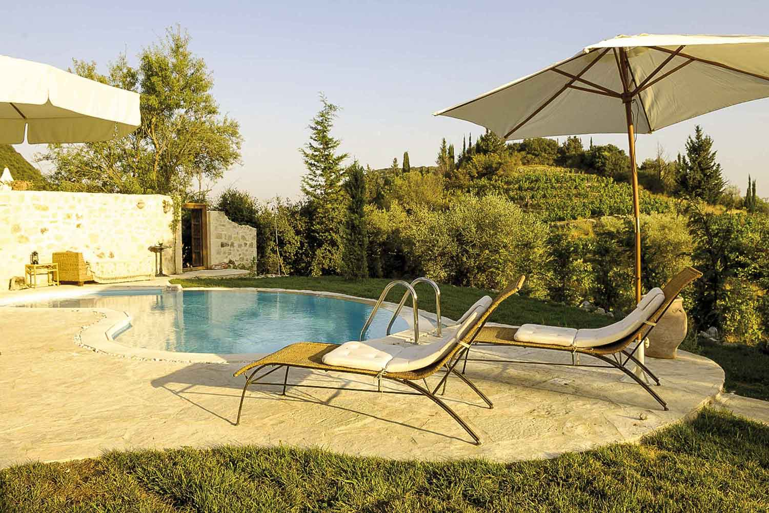 private pool villa at Greek island, perfect surrounding landscape