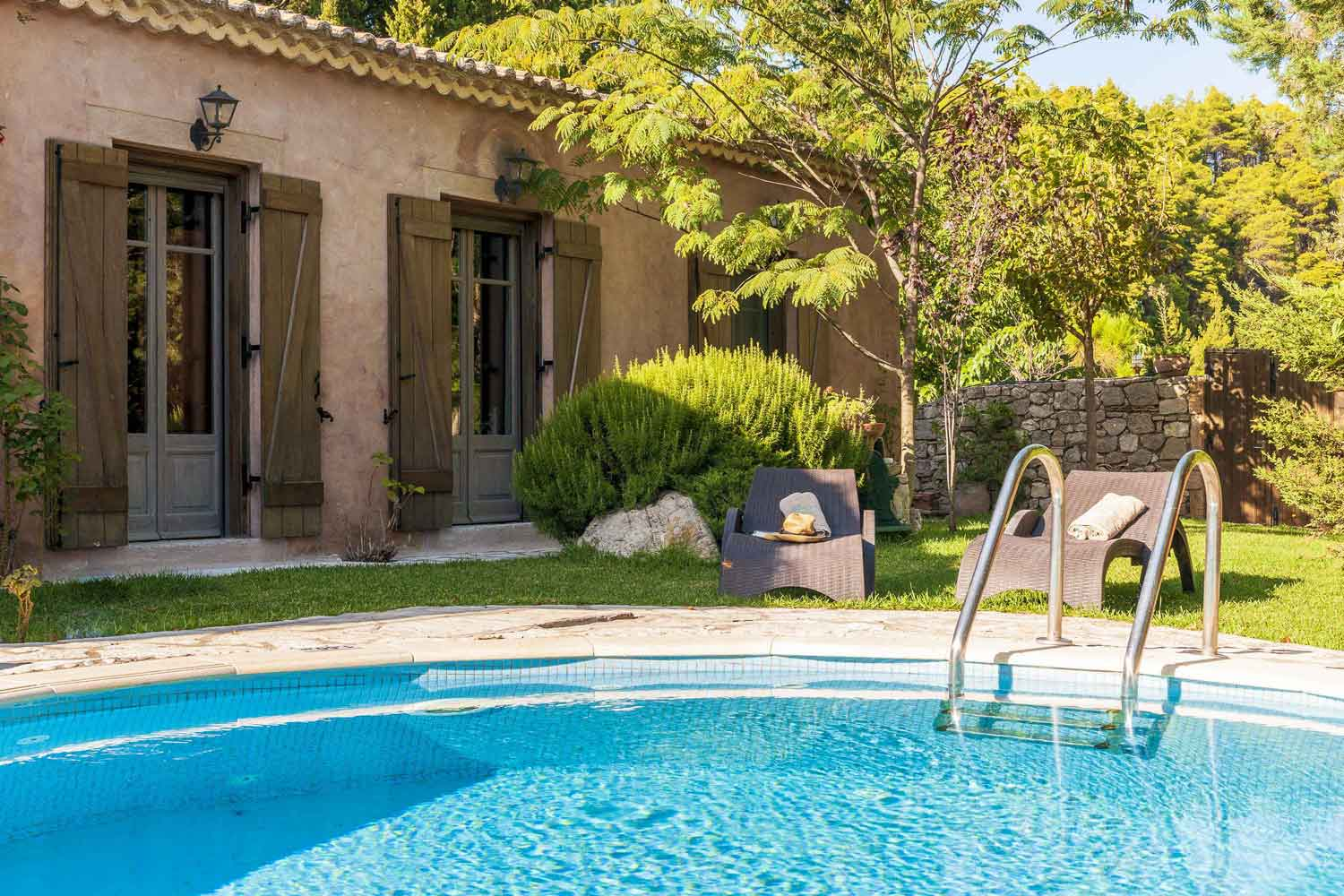 private pool villa in Lefkada, lovely pool garden