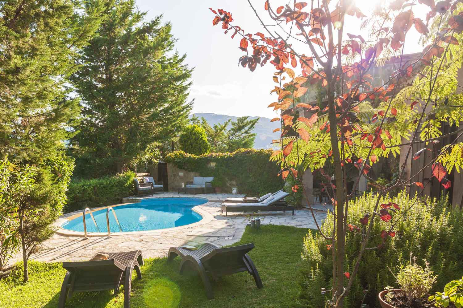 private pool villa in Lefkada, a marvelous garden