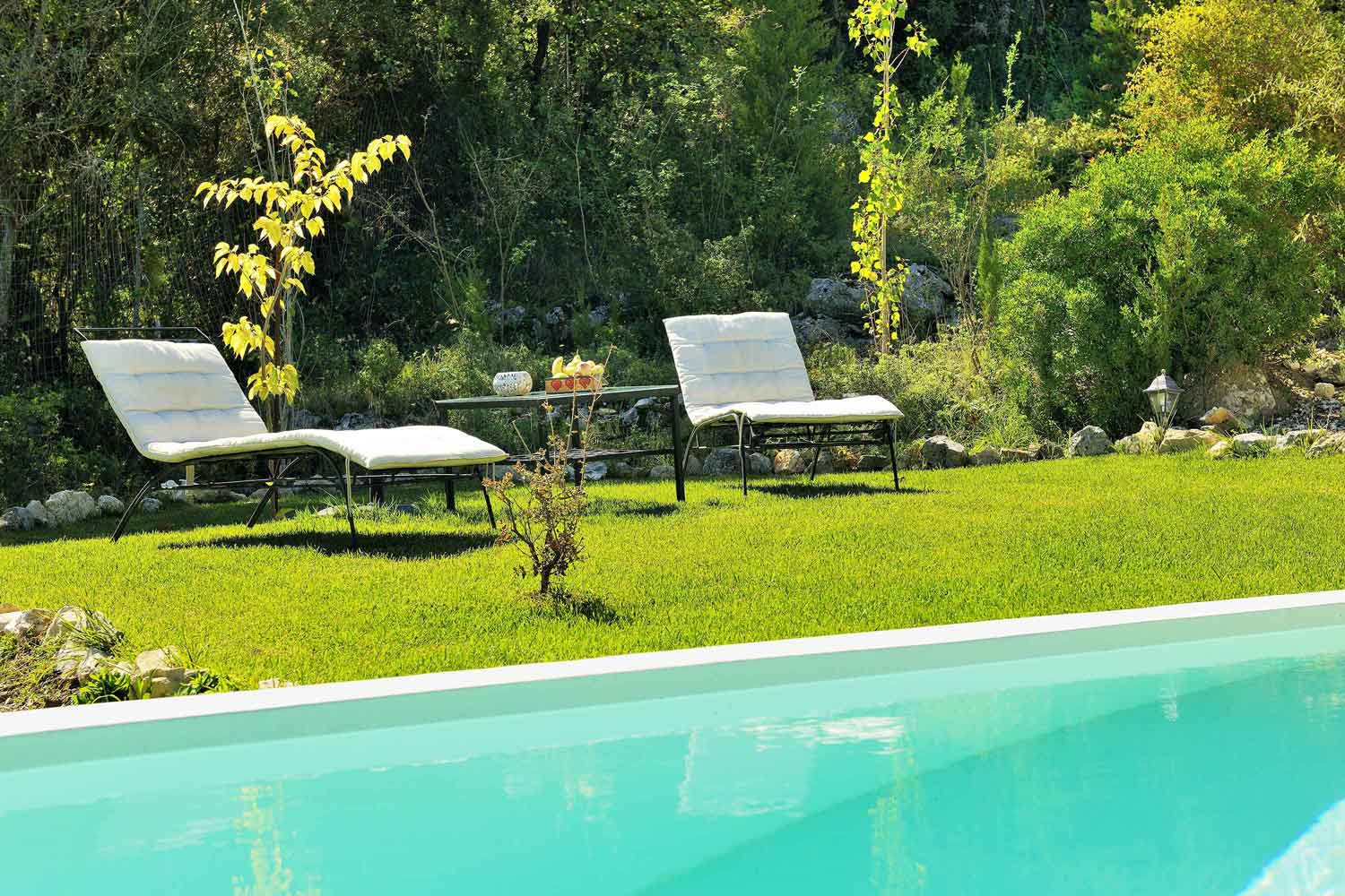 private pool villa for couples, comfortable sunbeds