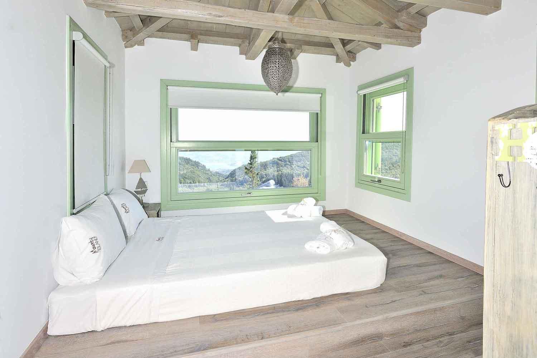 private pool villa in Lefkada, beautiful master bedroom
