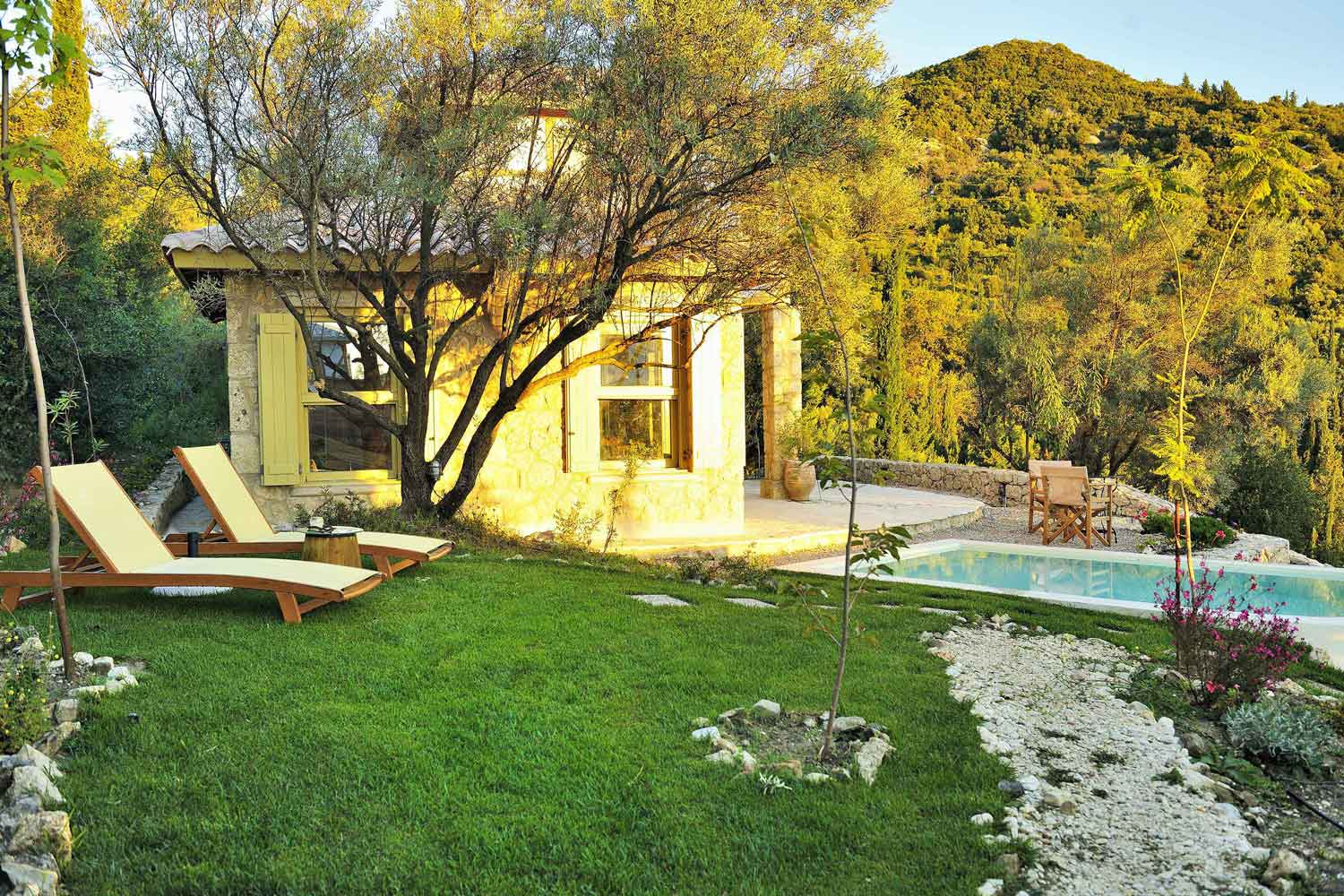 private pool villa at Ionian islands, lovely pool garden