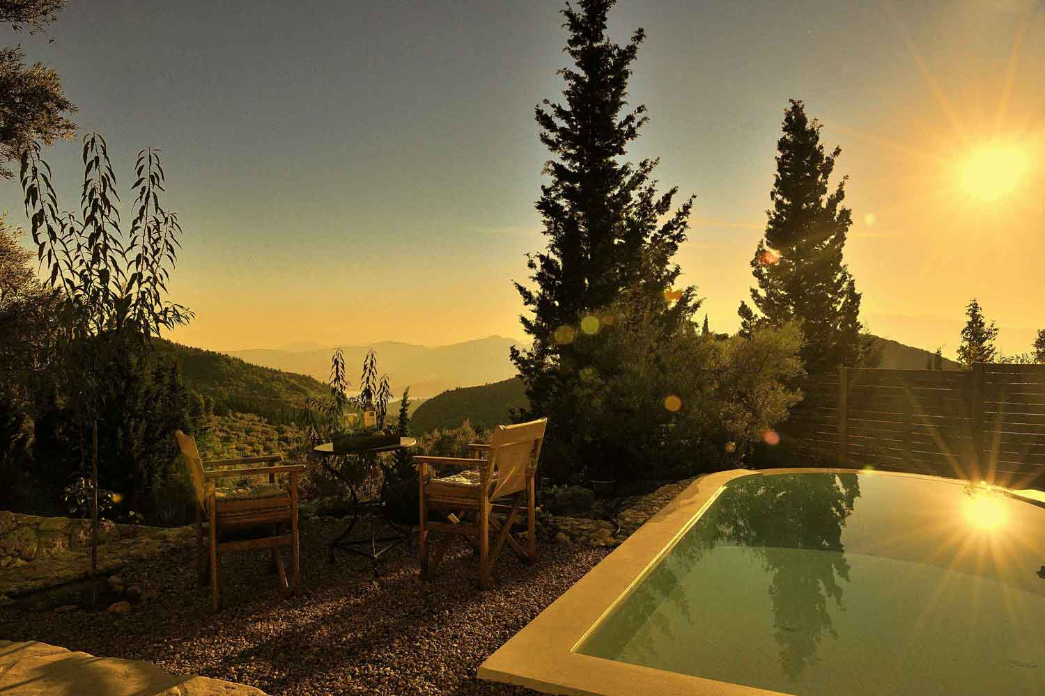 private pool villa in Greece, amazing sunrise view