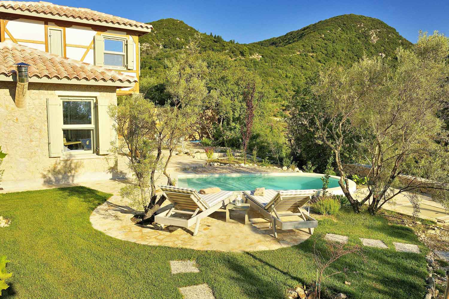 private pool villa at Ionian islands, a marvelous garden