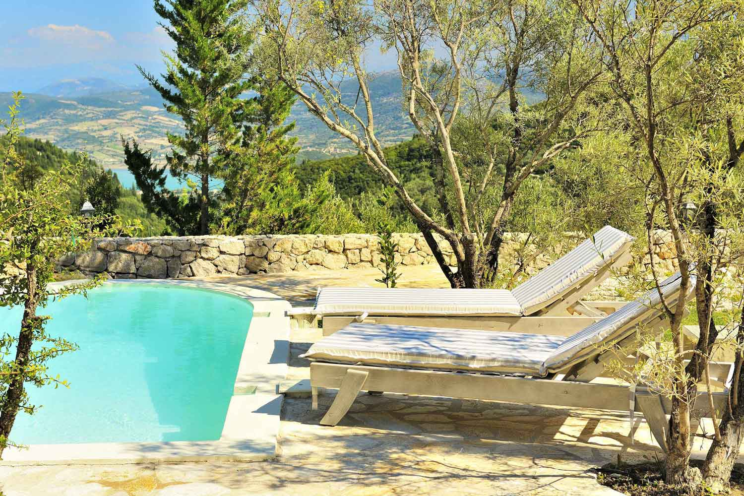 private pool villa for couples, sunbed landscape view