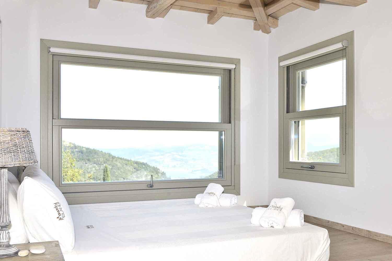 private pool villa at Greek island, beautiful master bedroom