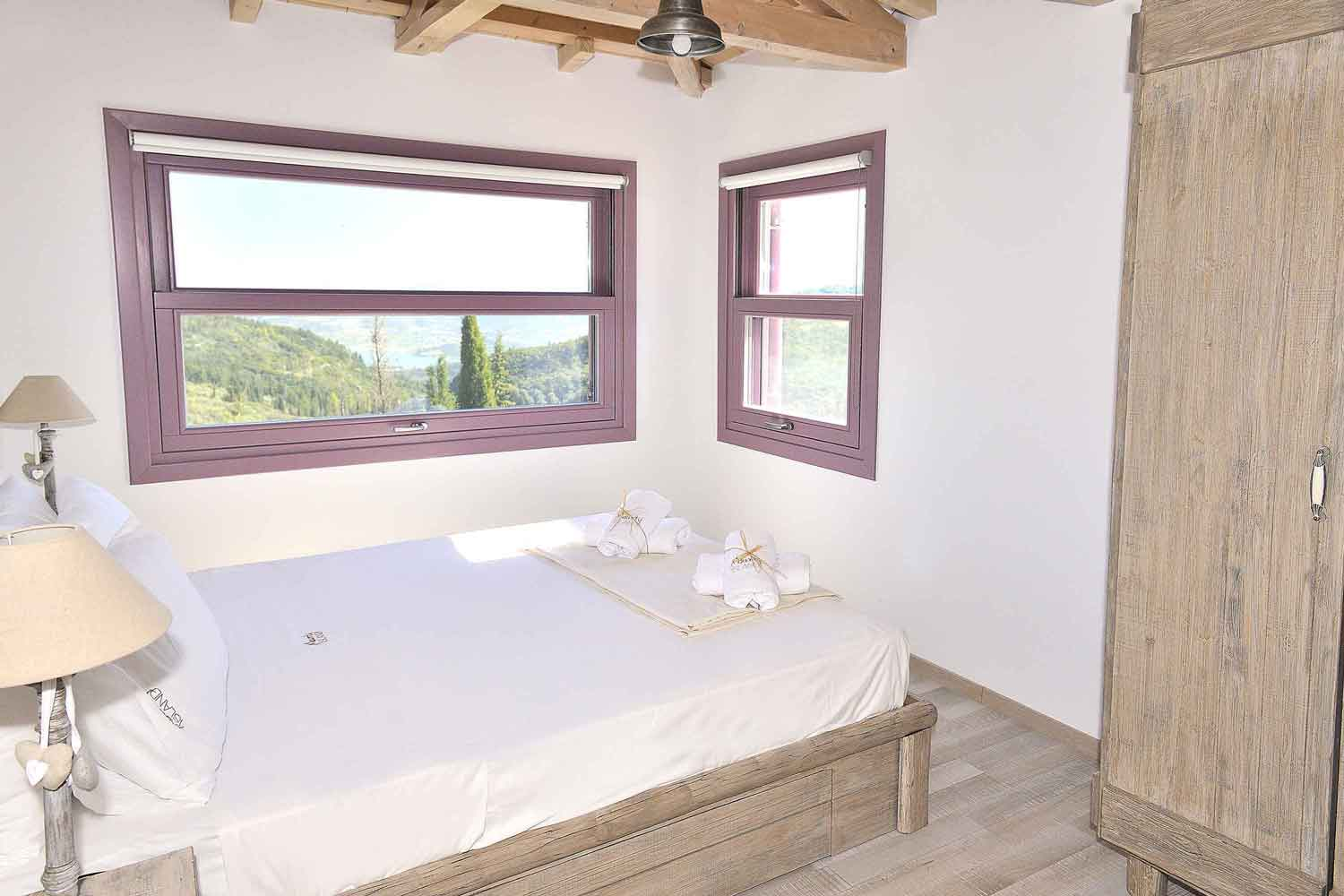 private pool villa at Greek island, adorable bedroom for your holidays