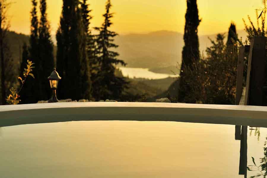 private pool villa in Greece, amazing sunrise view